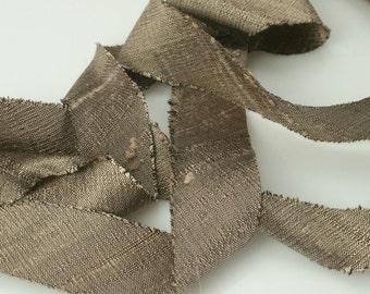 Silk Ribbon Bias Cut Dupioni Mocha 3/4 inch 3 yds