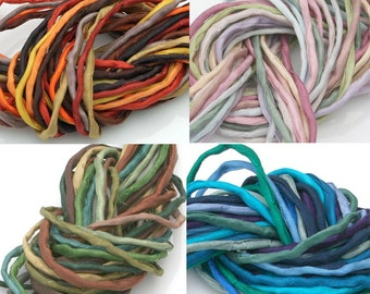4 Silk Strings for Jewelry Making 2mm Silk Strings Hand Dyed Silk Cord