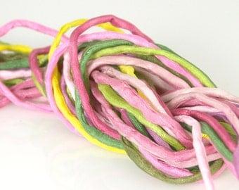 10 ea 2mm Silk Strings Peace Rose Bundle Hand Dyed