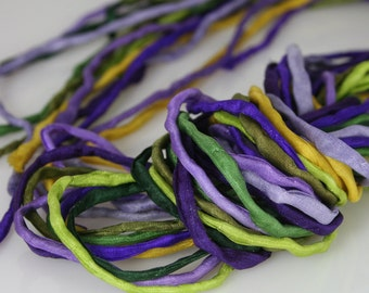 10 ea 2mm Silk Strings Pansy Bundle Hand Dyed