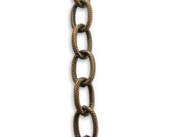 1 ft Vintaj 7mm Etched Link Brass Cable Chain