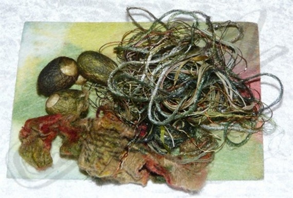 Painters Potpourri Fiber Packs - Threads, Ribbon, ATC, Silk Cocoon- HAND DYED