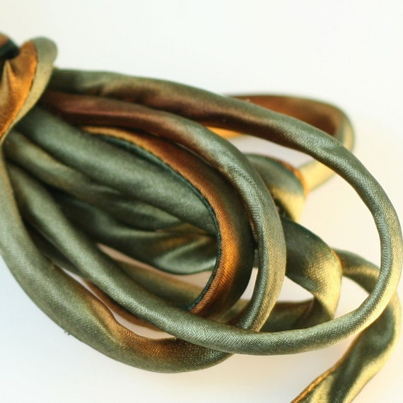"1/4"" Bias Silk Cord 3 yds Hand Dyed Rust Brown Golden Brown Jewelry Making Supplies"