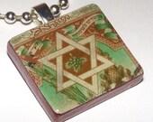 ISRAEL -- STAR OF DAVID -- Vintage Postage Stamp Pendant -- perfect for Hanukkah
