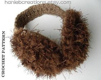 Brown Faux Fur Earmuffs and Earwarmers. CROCHET PATTERN PDF