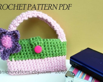 Crochet Pattern PDF for Nintendo DS Lite Case w/ Handle, Purse, Hand Bag for girls, toddlers