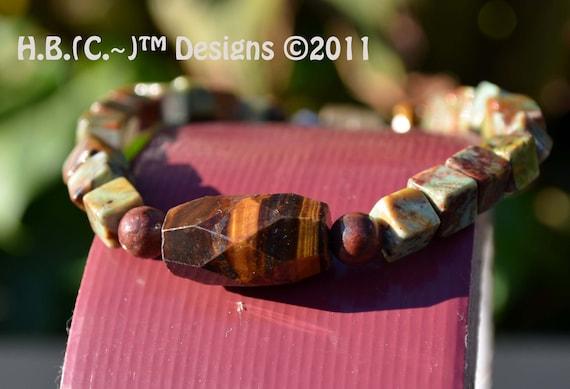 Yin Yang Bracelet  for Men or Teen Boys made w/Green Opal, Tigar Eye, and Jasper