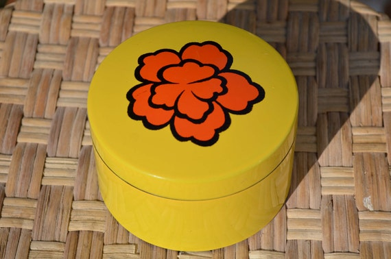Vintage Lacquer Ware Coasters with Box Yellow and Bright Orange