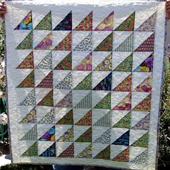 Half Square Triangle Baby/Lap Quilt Free Shipping in by janprytz