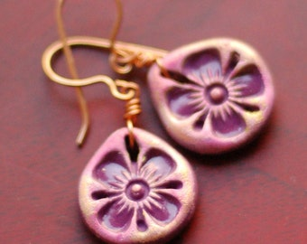 Earrings, Pink Indian Teardrop Flowers, Floral Earrings, Dangle Earrings, Purple Earrings, Gift for her, Holiday Gift, Polymer Clay Jewelry