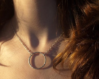 Necklace - Delicate Silver Circle - Short Pendant Necklace - Infinity Necklace - Eternity Necklace - Simple Necklace -Back to School Fashion
