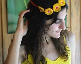 Floral Crown - Yellow Garland - Crown of Flowers - Flower Girls Bridesmaids Acccessories -  Princess Wear - Garden Wedding - Spring Summer