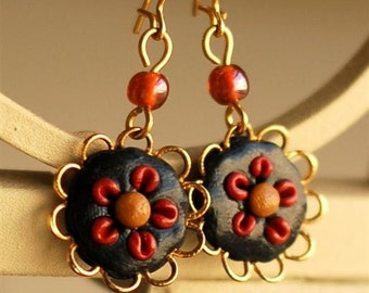 Black Flowers and Gold Lace Handmade Earrings