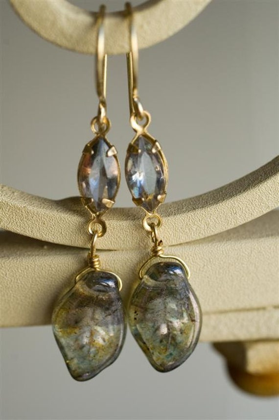 Dangle Earrings - Rainfall in the City - Silver Gray Grey Glass Rhinestones and Leaves