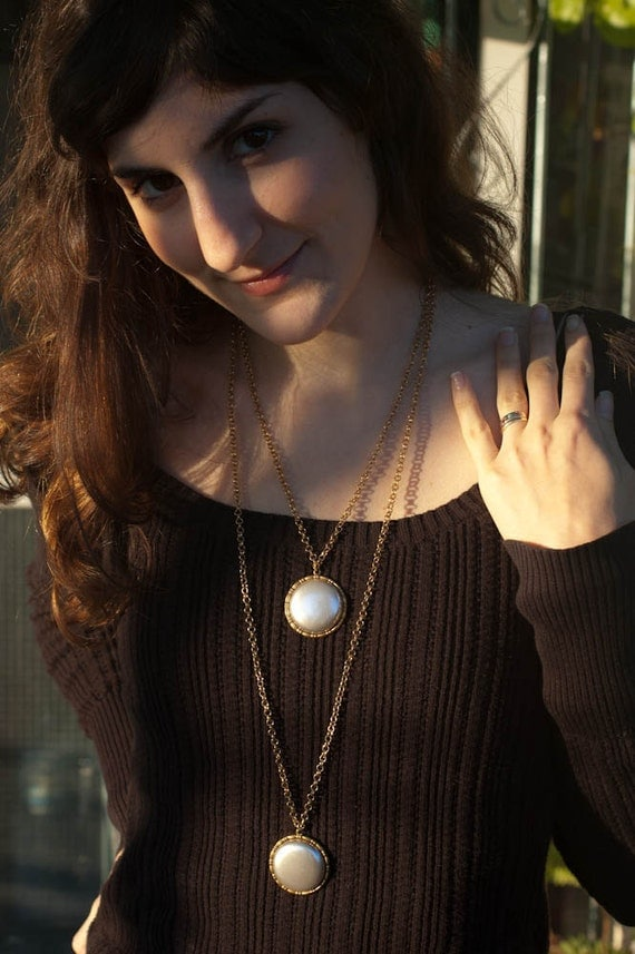 Layered Statement Necklace - Long Metal Chain Necklace - Modern Mod Bohemian Boho - Vintage Timepiece - Moon Inspired, Mixed Metal, OOAK