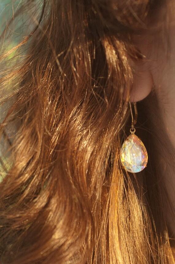 Simple Bridal Earrings - Hollywood Glamour - Estate Style Crystal Rhinestones