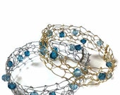 Bangle Bracelet Pair Hand Knit Gold & Silver Wire Aqua Blue Swarvoski Crystals - THE ADRIANA BANGLES