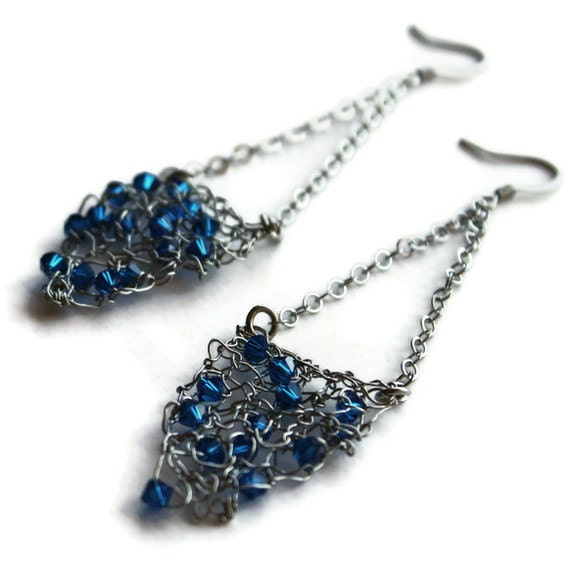 Knitted Earrings, Silver Dangle Earrings, Blue Crystal Jewelry- THE OLIVE EARRING