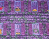 RESERVED FOR SNOW    New Fabric on the Bolt.    A.E. Nathan. Homecoming Collection. Purple, House, Dogs, Cats, Birds