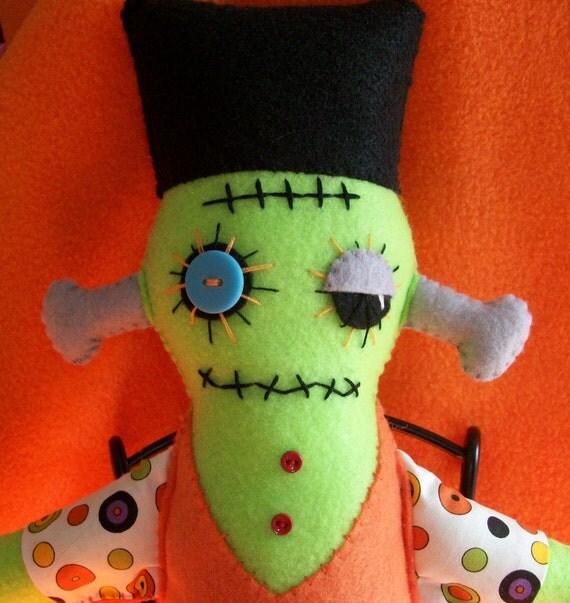 Whimsical Halloween Frankenstein Plush Doll