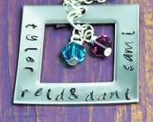 Single Square Washer Hand Stamped Necklace with Crystals
