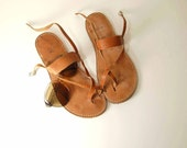 Greek style ankle band nude leather sandals 10-10.5