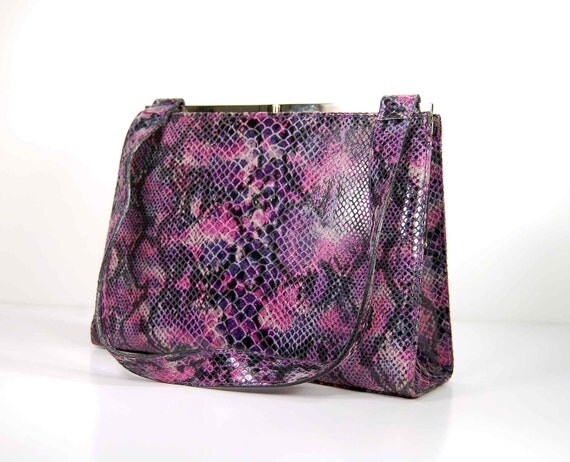 Vtg 80s lilac purple leather structured  tote. snake print. designer fashion tote