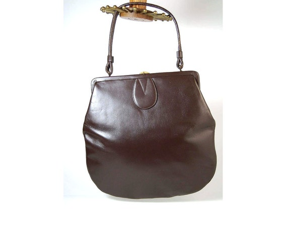 1950s double leather Kelly handbag -Femme Sophistiquee