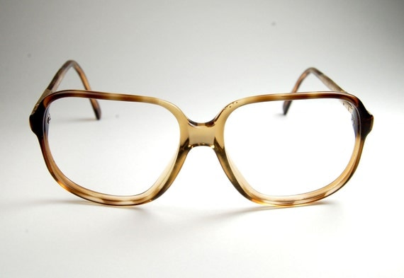 Vintage 70s Rectangular Tortoise Eyeglass Frames with Gold Accent  made in France