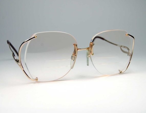 Vintage Luxottica Gold Rimless Eyeglass Frames made in Italy