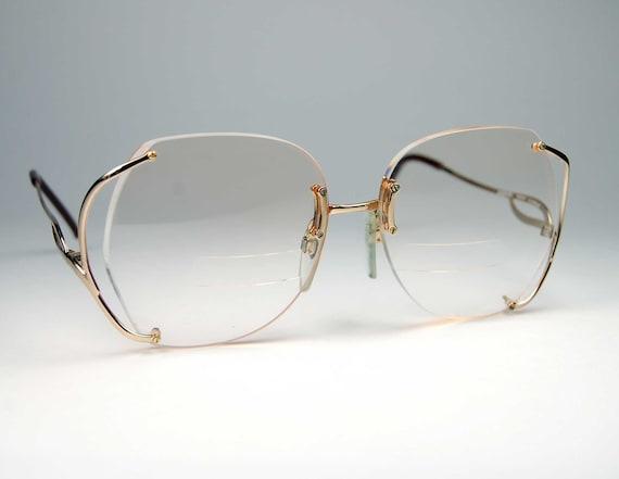 Gold Big Frame Glasses : Vintage Luxottica Gold Rimless Eyeglass Frames made in Italy