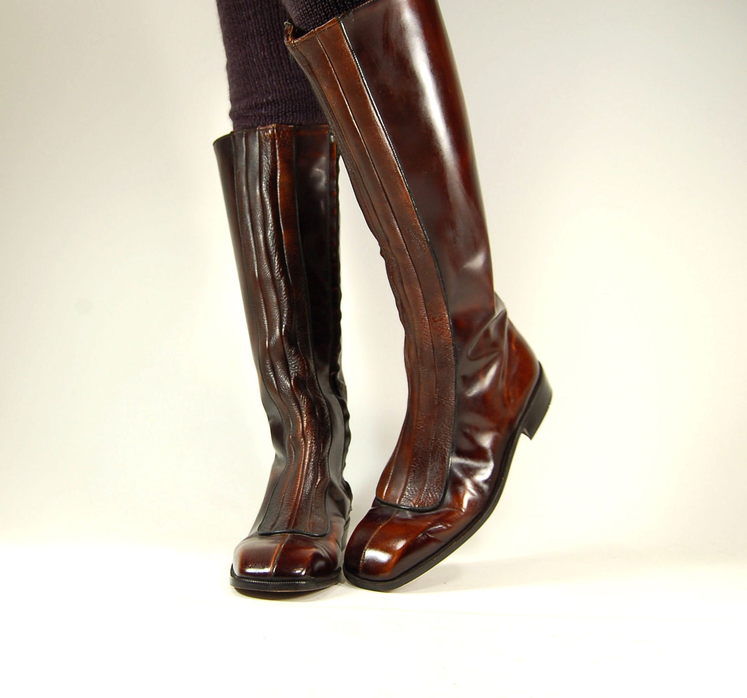 Vtg 1970s Tall Italian Leather Riding Boots Size Mens 11