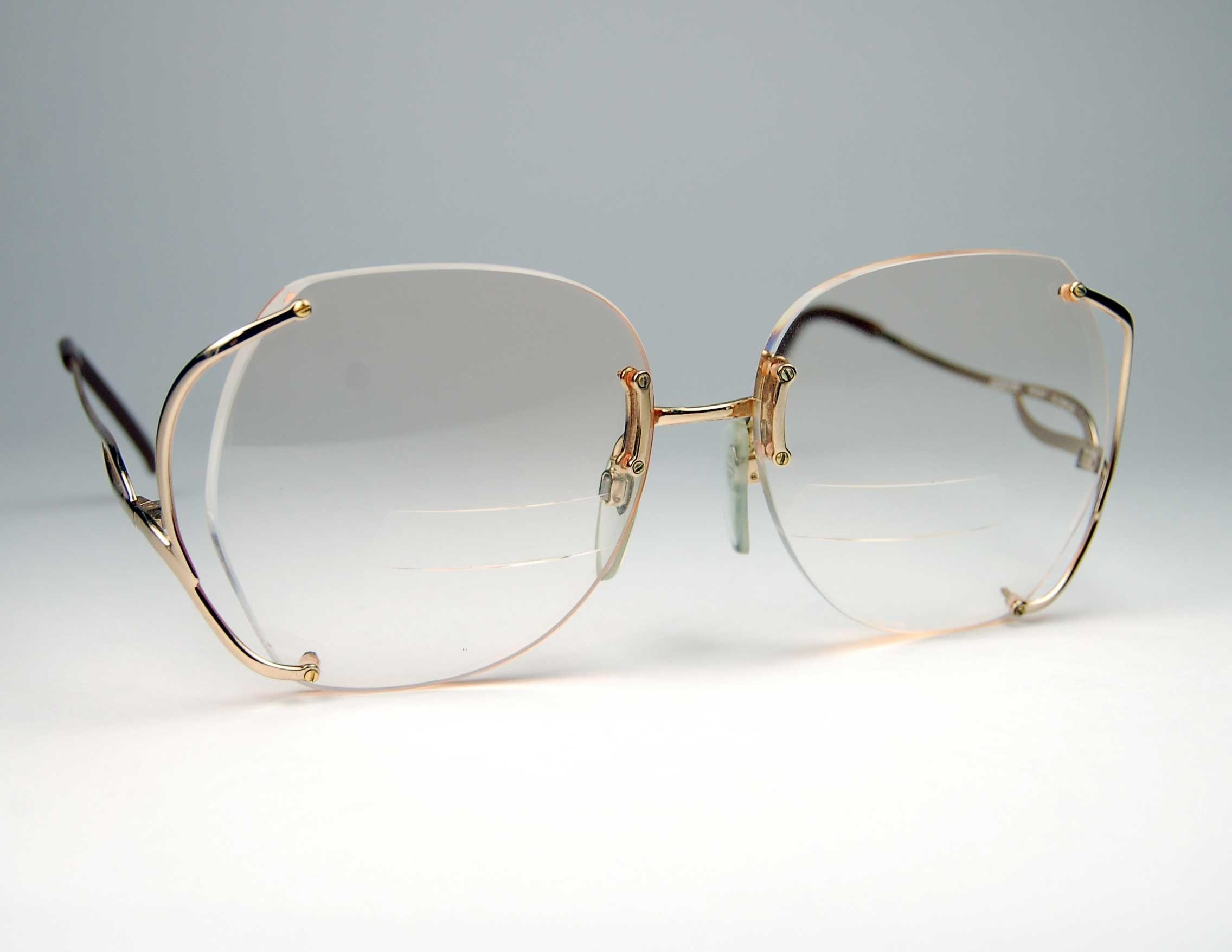 Oversized Gold Frame Sunglasses : Vintage Luxottica Gold Rimless Eyeglass Frames made in Italy