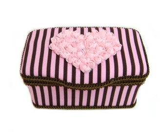 Pink and brown stripe baby wipe box juicy couture inspired wipe case pink and brown stripe wipe case pink and brown baby gifts