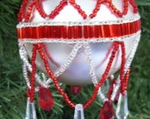 Handmade Red and Silver Seed Bead Ornament Drape