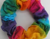 Cotton Scrunchie, hand dyed, soft for hair, bright rainbow
