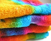 WASH CLOTH, hand dyed, tie dyed, bright rainbow, spa, bath time, large size, thick, high quality