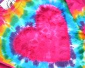 HEART T  shirt, long sleeve, short sleeve, heavy cotton, hand dyed, child, youth, pink, hippie