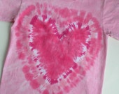 HEART T  shirt, short sleeve, cotton, hand dyed, children, youth, tie dye, pink, hot pink, light pink