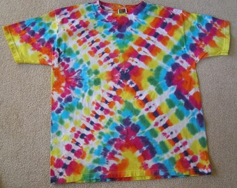 Tie Dye T SHIRT,hippie, short sleeve, heavy cotton, hand dyed, bright rainbow, children, adult