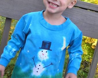 Snowman T Shirt, long sleeve, cotton, hand dyed, hand painted, child, Winter, snow, moon, deep blue