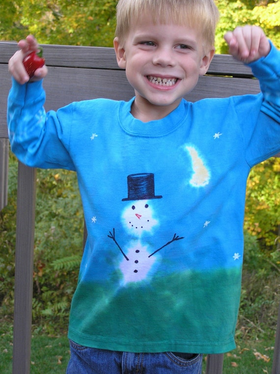 Snowman T Shirt, long sleeve, cotton, hand dyed, hand painted, child, Winter, snow, moon, deep blue