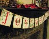 Christmas Banner JOY to the WORLD Garland Decoration