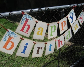 Birthday Banner HAPPY BIRTHDAY Boy Girl Child Adult birthday party decorations