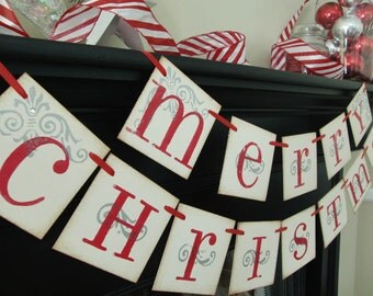 Merry Christmas banner decoration, photoprop, garland