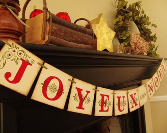 christmas decorations JOYEUX NOEL painted banner garland sign