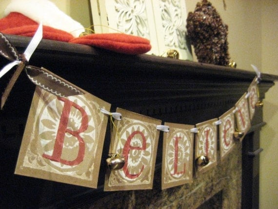 Christmas Decoration BELIEVE Garland Banner Sign Gold Jingle Bells