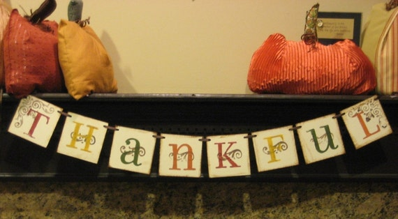 Thanksgiving decoration thankful fall banner hostess gift for Arland decoration