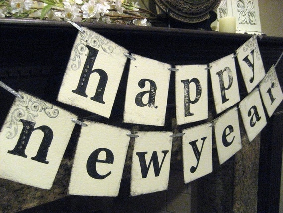 HAPPY NEW YEAR Double Banner Garland Sign