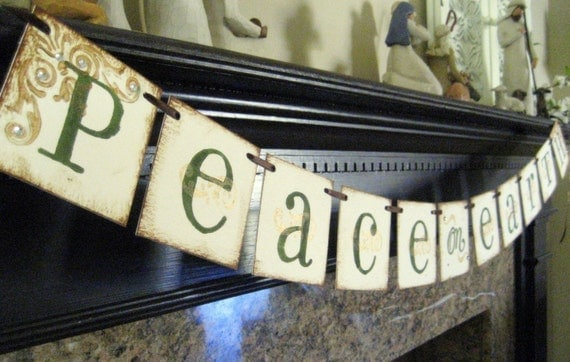 Chirtmas deocre PEACE on EARTH  Banner Sign